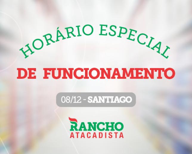 Horário especial - 08/12 em Santiago