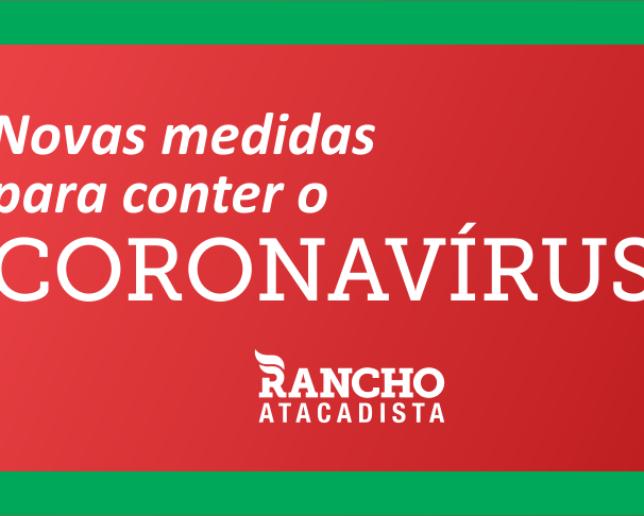 NOVAS MEDIDAS PARA CONTER O CORONAVÍRUS